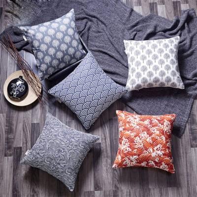 Colorful Plaids Pillow Case Core, Floral Linen Cushion Home Decoration