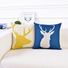 Linen Pillowcase Plaids Animal Pattern, Pillow Core Artistic Cushion Home Decor