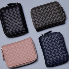 Casual Leather Coin Purse, Microfiber Handwoven Multifunctional Change Case Wallet Card Holder With Metal Zipper and Hanging Belt