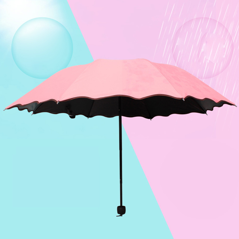 Creative Color Changing Umbrella Triple Folding, Vinyl Painting Umbrella with Superior Windproof Carbon Steel Ribs Encounter Water Show Flowers
