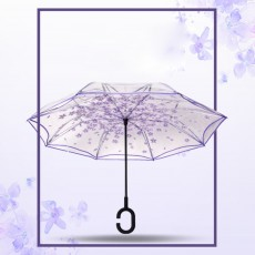 Transparent Inverted Umbrella With C-Shaped Handle, Self Stand Reserve Folding Waterproof Windproof Umbrella