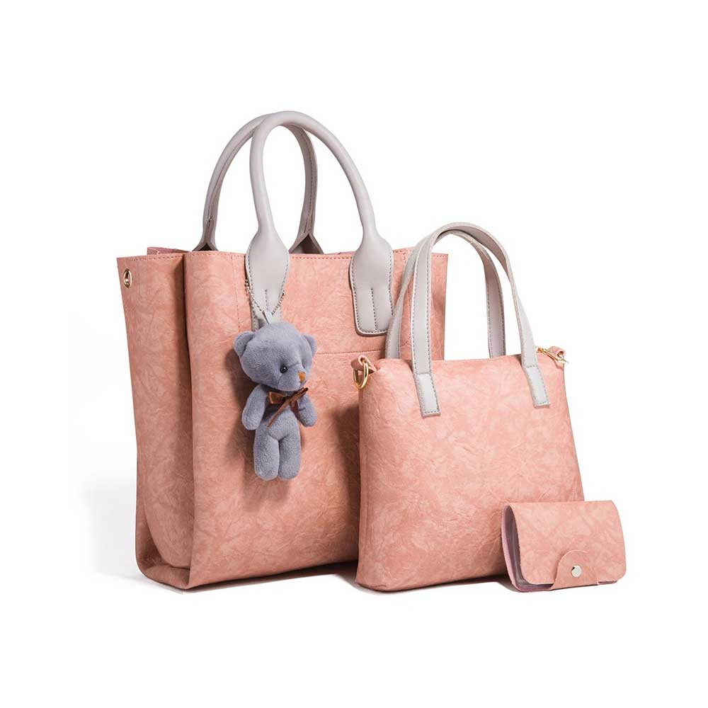 3pcs Creases PU Leather Tote Bag & Cross Body Pouch & Card Bag, Lady Accessories Solid Shoulder Pack Sets