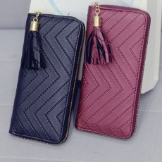 Women Handbag Business PU Leather Wallet, Zipper Tassels Card Holder Mini Purse Long Clutch, Casual Phone Bag