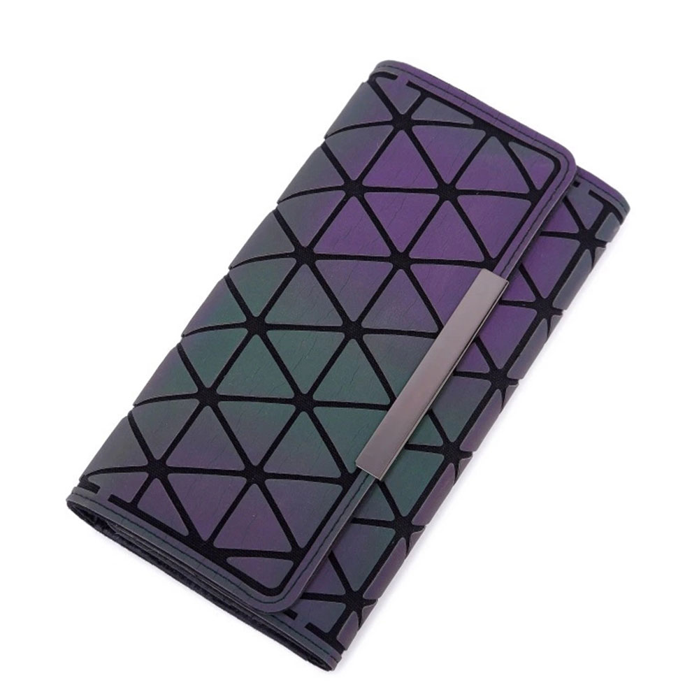 Triangle Long Wallet, Unique Luminous Geometric Embossing Lady Clutch Bag, PU Leather Lady Handbag Card Holder Phone Purse