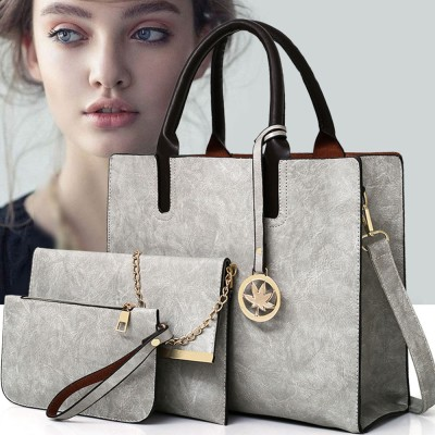 Ladies Handbag Set - Frosted PU Leather Lady Handbag & Shoulder Bag & Tote, Fashion Satchel Slim Purse 3PCS