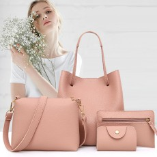 Solid PU Leather Bucket Bag, Cross Body Pouch, Strapped Clutch, Card Bag, Elegant Lady Accessories Bag Sets 4PCS