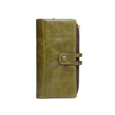 Vintage Double Zipper Long Wallet, Fashion Wallet for Ladies, High-quality First Layer of Cowhide Leather Clutch