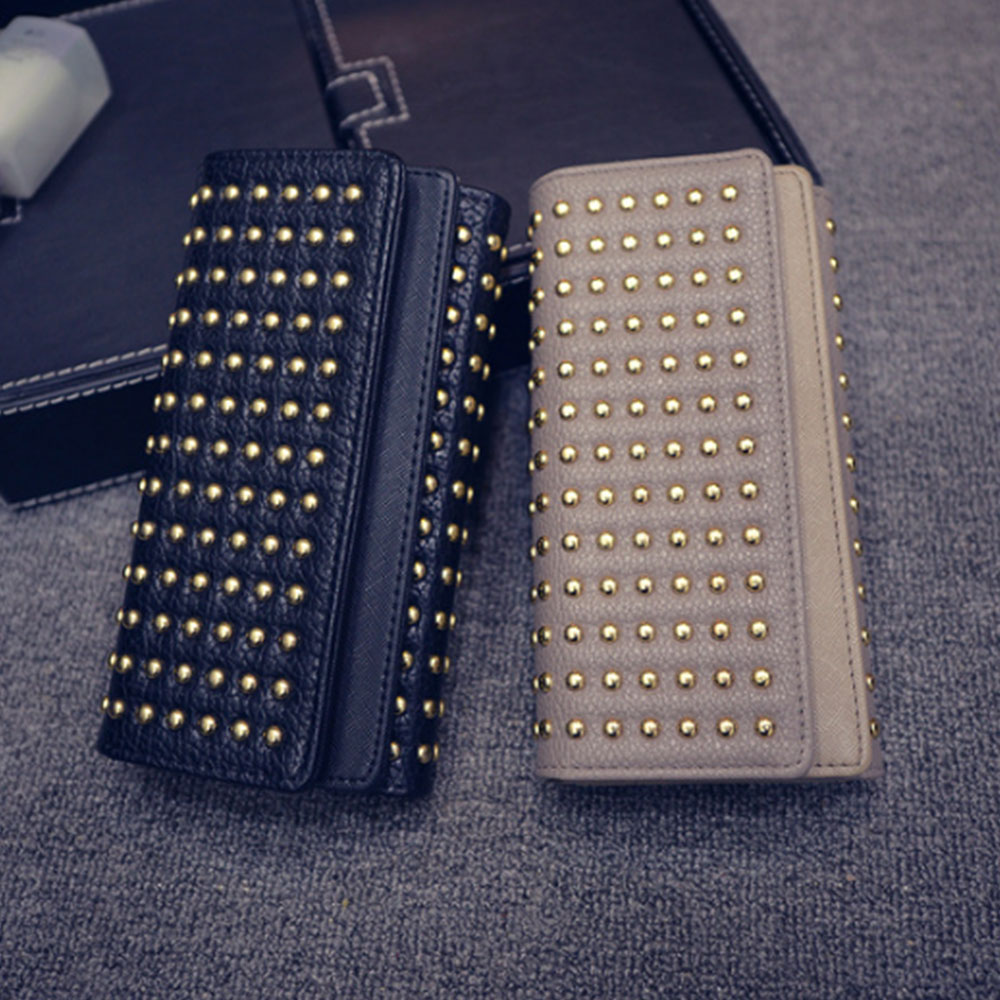 Long Double Cover Clutch, New Fashion Women wallet, European and American Pop Pun Style Rivet Handbag