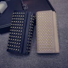 Long Double Cover Clutch, New Fashion Women wallet, European and American Pop Pun Style Rivet Handbag