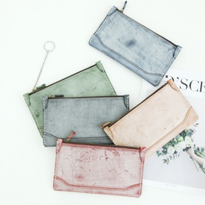 2019 New Long Purse, Vintage Handmade Vegetable Tanned Ladies Clutch, Real Leather Fog Wax Clutch