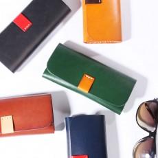 Handmade Leather Japanese Glasses Bag, Vegetable Tanned Leather Glasses Case, Hit Color