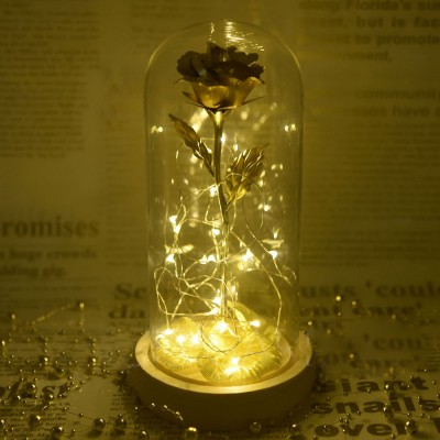 Gold Roses Lamp with Fairy String Lights Fallen Petals and ABS Base in A Glass Dome Valentines Day Presents
