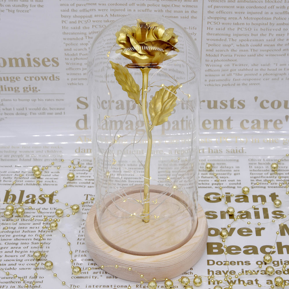 Valentines Day Presents - Gold Roses Lamp with Fairy String Lights, Fallen Petals and ABS Base in A Glass Dome