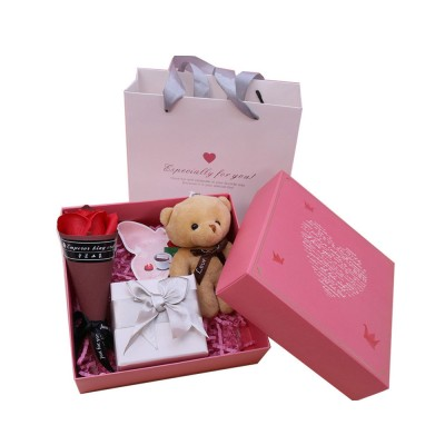 Preserved Fresh Flower with Lovely Bear Gift Box for Valentine's Day, Wedding Parties, Romantic Gift Perserved Fresh Flower Bear Box