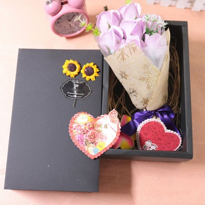 7 Romantic Love Roses Soap Flowers with Black Cardboard Box for Girlfriend Valentine's Day Gift