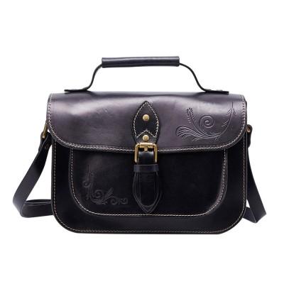 Retro Female Shoulder Messenger Bag, Top Layer Cowhide Handbag with Shoulder Strap, Vintage Messenger Handbag 2019
