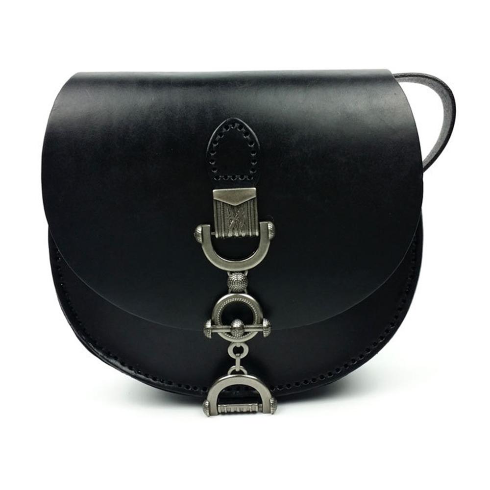Vegetable Tanned Leather Saddle Bag, Fashion Trend Ladies Shoulder Slung Bag, Retro Wallet Handbag 2019