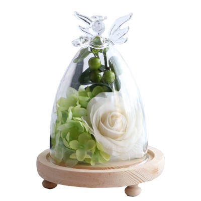 Preserved Fresh Flower Rose Plus Glass Encloser Set, as Ornament Gift of Valentine's Day or  Birthday