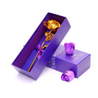 Gold Foil Rose for Lovers, 24K Rolled Gold Rose Bouquet Platinum Rose, Creative Gift of Valentine's  Day