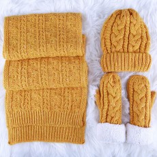 Set Of Scarf Hat Gloves as Gift for Girlfriends Confidant, Thickened Wool-added Three-piece Set for Warmth in Winter