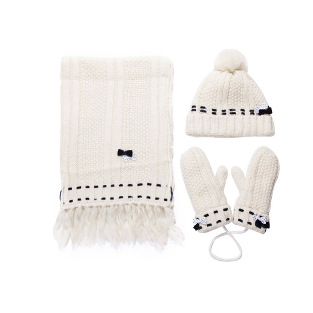 3 Piece Hat Scarf Glove Women S Winter Set Thickened Wool Added Women S Accessories Korean Style With Lovely Bowknot Valentine S Day Gifts
