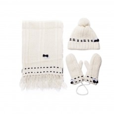 3 Piece Hat, Scarf & Glove Women's Winter Set, Thickened Wool-added Women's Accessories Korean Style with Lovely Bowknot