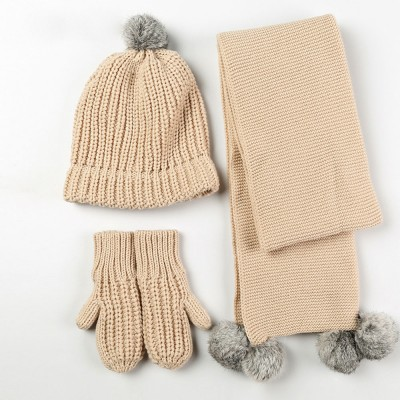 Women's Accessories - Minimalist Winter Women Hat Scarf Gloves Suit, Warm Breathable Acrylic Knitted Beanie Hat and Circle Scarf