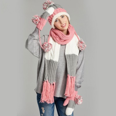 Thicken Women Scarf Hat Gloves Set with Fluffy Ball Decoration Gifts for Ladies 3 PCS Set