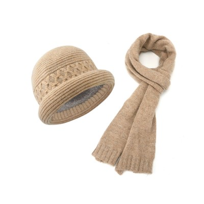 Fashion Simple Women Crimping Edge Hat Scarf Suit, Warm Smooth Rabbit Fur Wool Blend Knitted Hat and Circle Scarf