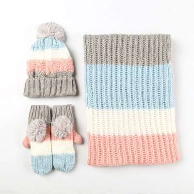 Warm Solid Women 3PCS Scarf Cap Gloves Set, Ultra-Soft Acrylic Knitted Beanies Snood Face Neck Hand Warmer