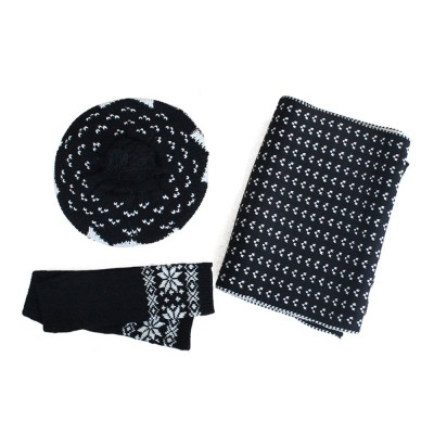 Thicken Acrylic Snowflake Painting Ladies Scarf Hat Mitt Gloves Suit Fashion Colors Contrast Winter 3 PCS Set