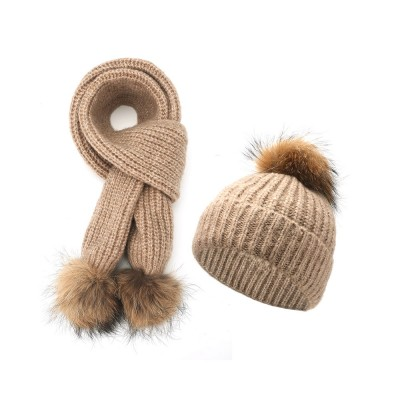 Women Beanie Hat Scarf Set with Fluffy Decorative Ball, Warm Winter Thicken Outdoor Skiing Knitted Cap Scarf Suit