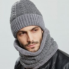 Ultra-soft Knit Beanie Cap and Circle Scarf, Minimalist Autumn Winter Men Scarf Cap Suit with Smooth Chenille