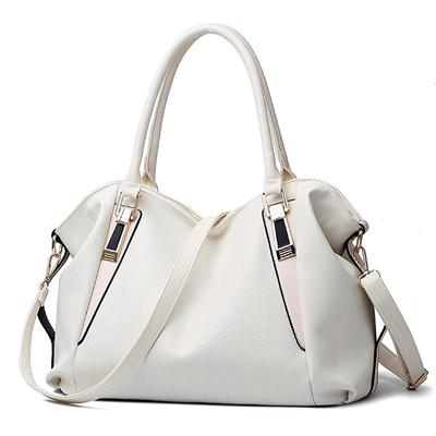 Women's Leather Tote Handbag, Elegant White Shoulder Bag and Ladies Tote Bag