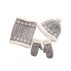 Cute Students Ladies Knitted Scarf Hat Gloves Suit with Plush Lining Thicken Warm Autumn Winter Warmer Set