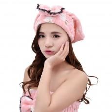 Cartoon Cute Bow Dry Hair Cap, Soft and Comfortable Coral Fleece Hair Cap