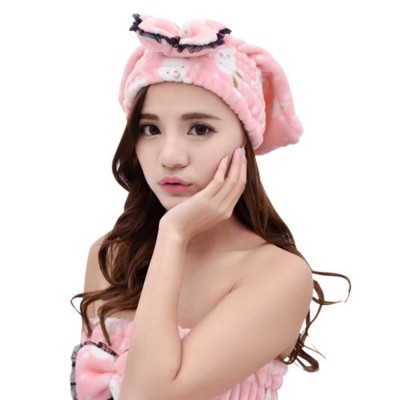 Cartoon Cute Bow Dry Hair Cap, Soft and Comfortable Coral Fleece Hair Cap