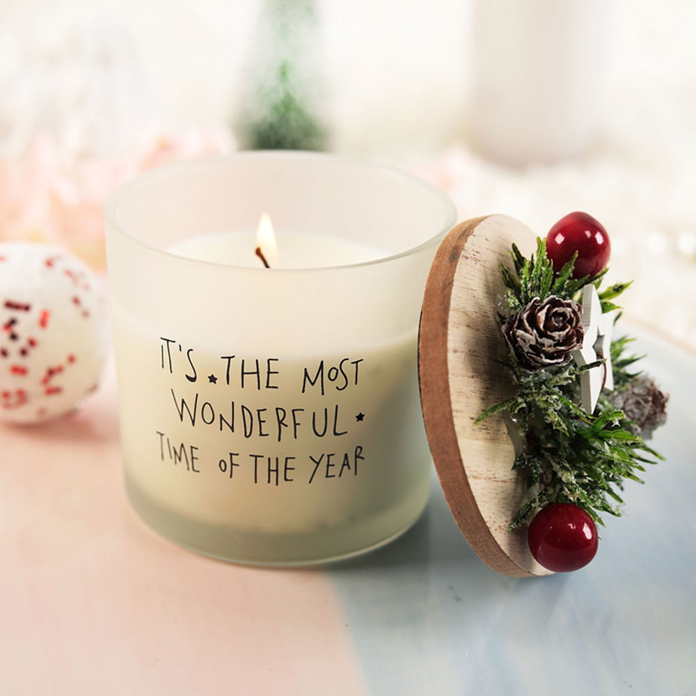 Smokeless Fragrance Scented Candles Christmas Decoration, Safety Soy Wax Essential Oil Scented Candle Gift