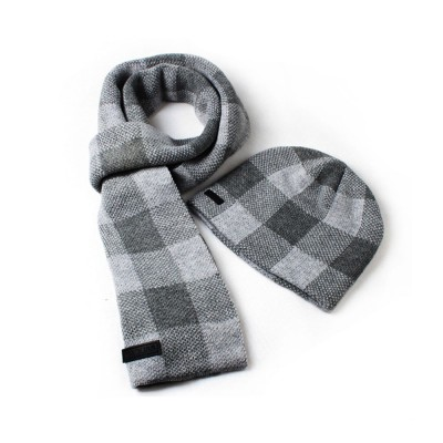 Stylish Plaid Thicken Knit Hat Scarf Set, Warm Anti-pilling Acrylic Hooded Beanie Cap Scarf Suit