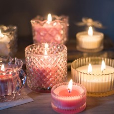 Flameless Candles with Transparent Glass Handleless Cap, Smokeless Soy Wax Scented Candles