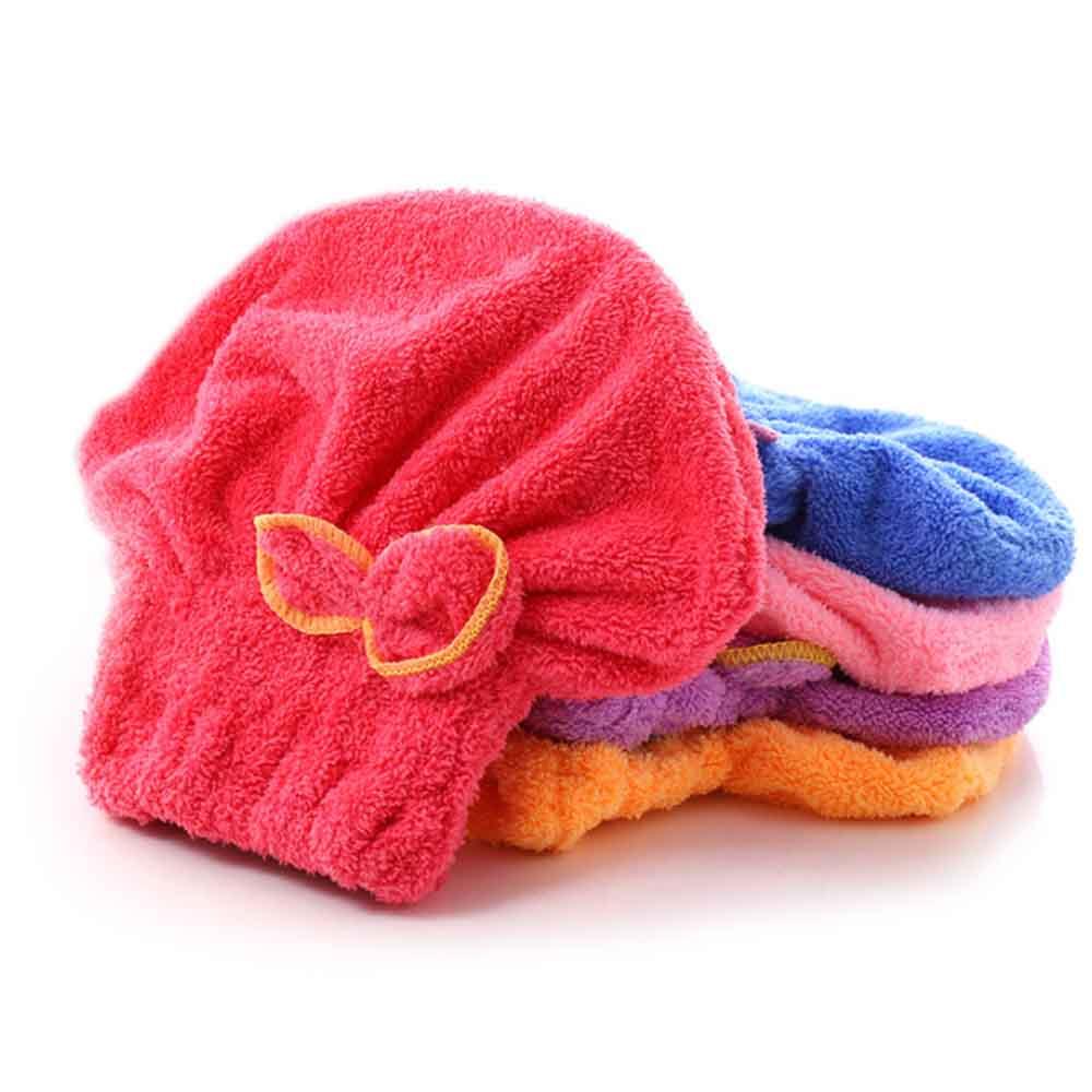 Coral Fleece Shower Cap, Water Velvet Cute Dry Hair Cap, Thickening Hooded Korean Bath Cap