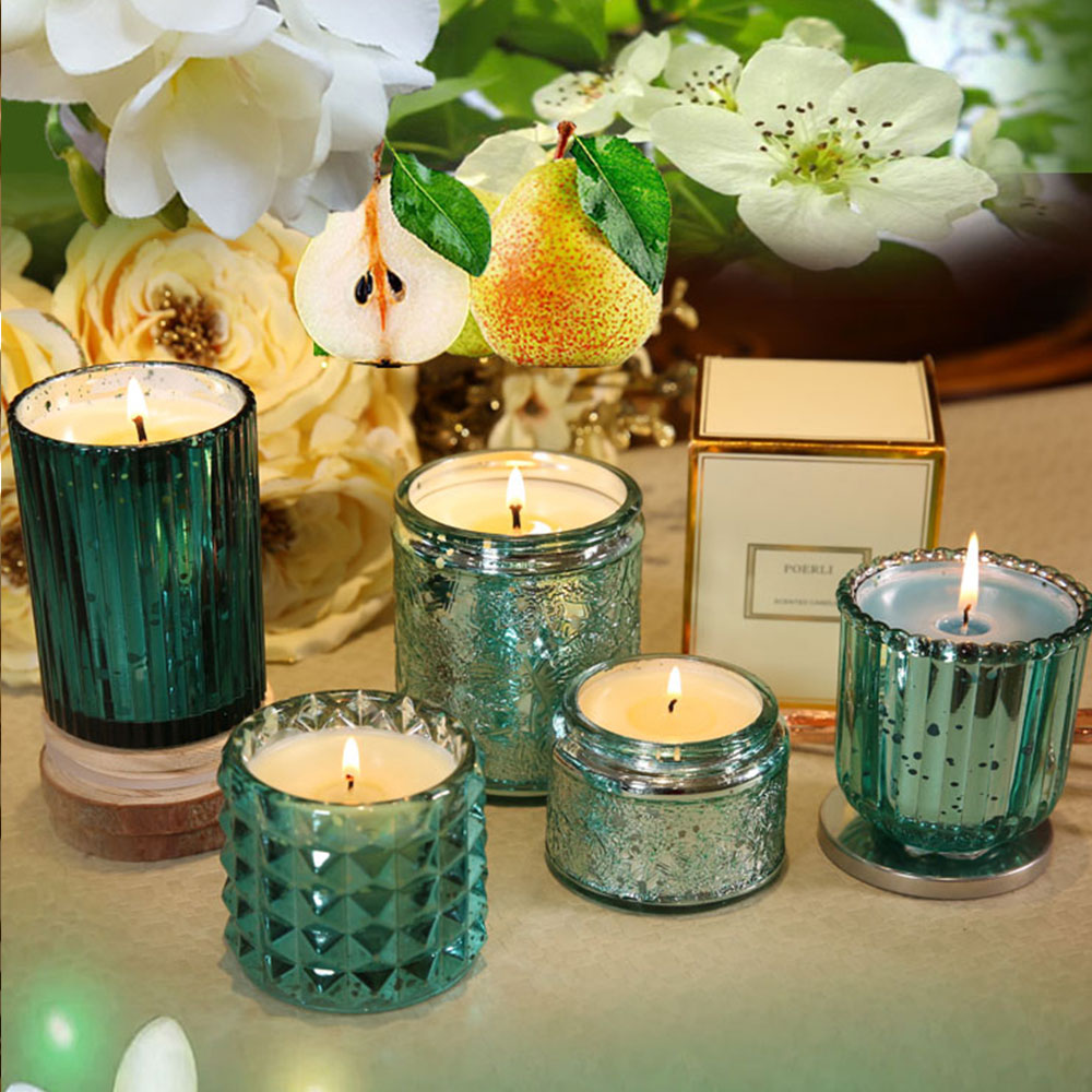 Essential Fragrance Oil Smokeless Scented Candles, British Pear Flower and Freesia Home Decoration Purify Air Candles