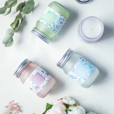 Scented Candles - Cherry Blossom Laurel Mint Fragrance, Scented Candles with Beautiful Floral Jar, Great Gift for Ladies