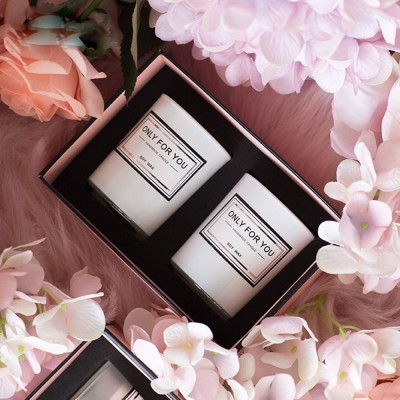 Smokeless Essential Oil Candles, 2 PCS Home Decoration Scented Candles Set Gift Box, Minimalist Romantic Ornaments