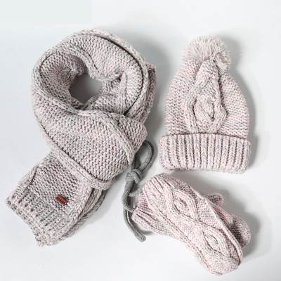 Winter Accessories for Ladies, Colorful Ladies Knitted Scarf Hat Gloves Suit with Wool Ball Decoration, Thicken Warm Autumn Winter 3 PCS Set
