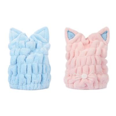 Coral Velvet Shower Cap, Super Absorbent Cat Ears Dry Hair Towel, Thickening Adult Children Universal Dry Hair Cap
