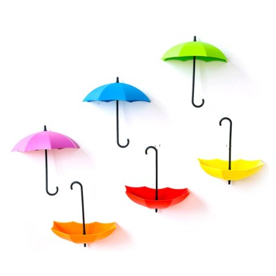 Nail-free Sticky Holder Adhesive Cute Umbrella Shape Wall Hook For Keys, Bags and Clothes, Colourful Lovely Sticky Door Hook 3 PCS