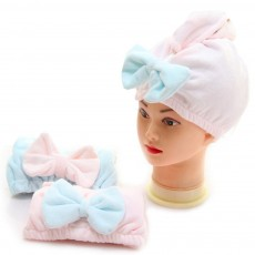 Dry Hair Cap Microfiber Bow, Soft Strong Absorbent Shower Cap