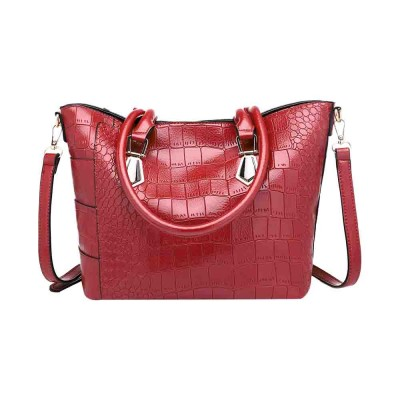 Fashion Wild Simple Shoulder Bag With Smooth Hardware Zipper, Crocodile Elegant Portable Handbag for Ladies