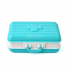 Jewelry Storage Box Mini Pill Case, Creative Luggage Modeling, 6 Slots Multifunctional Dispenser Organizer for Ladies
